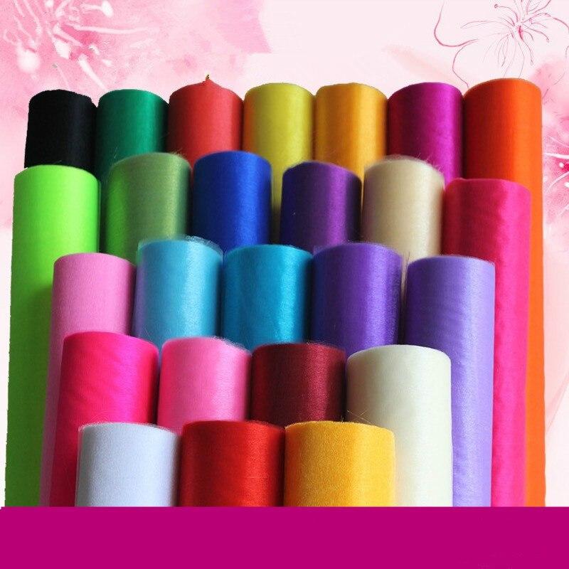 48cm 10m/5m cristal puro Organza rollo de tela para la decoración de la boda DIY arcos silla fajas elementos de recordatorio para fiestas