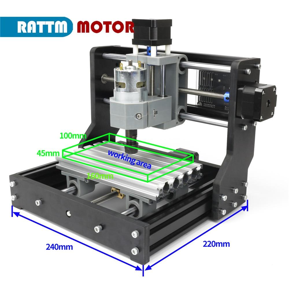 EU Free VAT GRBL control DIY mini CNC machine 1610 Pro CNC working area 180x100x45mm 3 Axis Pcb Milling machine,Wood Router enlarge