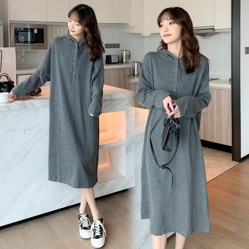 9030 #2021 Осенние повседневные хлопковые длинные футболки для беременных с капюшоном свободное платье Одежда для беременных женщин