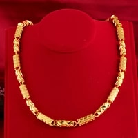 yellow gold necklace 8mm pure cylindrical necklace for men solid 24k plated man chain necklaces extended fine jewelry gold gift