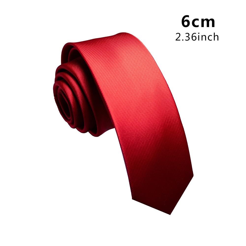 Corbata lisa de seda tejida de Jacquard de calidad KAMBERFT para hombre corbata sencilla clásica delgada de 6cm corbatas para bodas en rojo marino amarillo