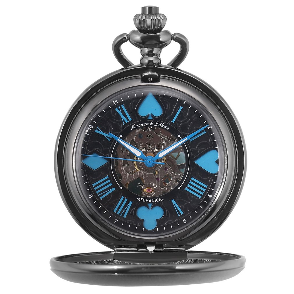KS esqueleto diseño de póquer Golden Hunter reloj de bolsillo mecánico Vintage reloj de cuerda manual Fobs relojes cadena joyería/KSP081
