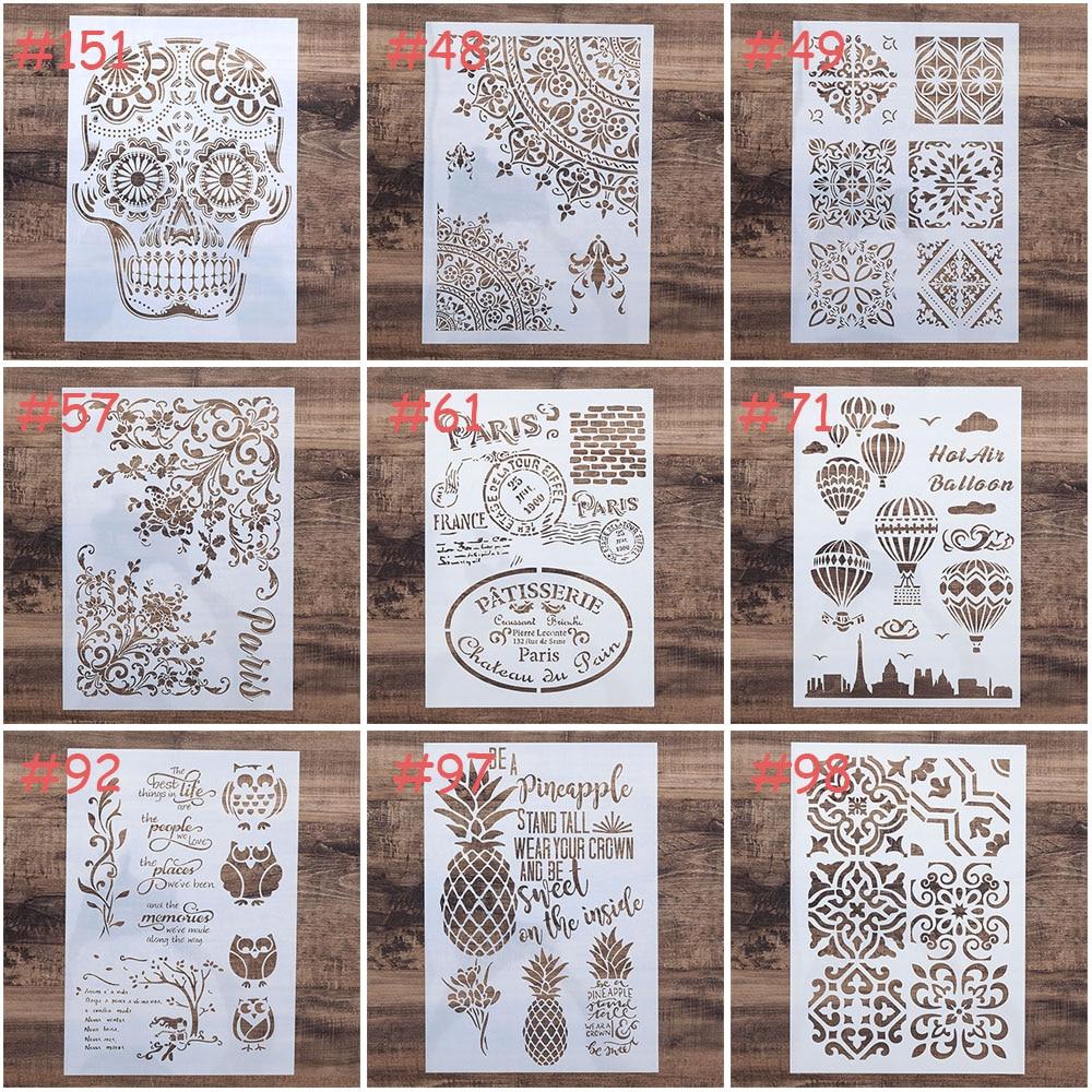 A4 a3 a2 tamanho diy artesanato crânio mandala estêncil para pintura de parede scrapbooking carimbando álbum decorativo gravando cartão papel s