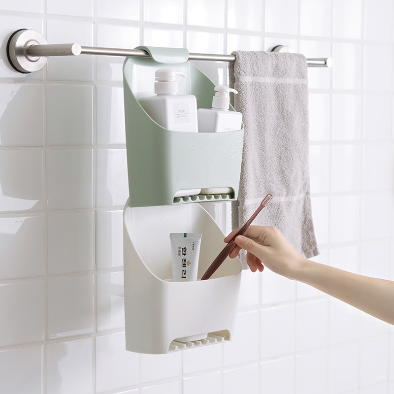 الحمام المنظم دش صندوق تخزين بلاستيكي الجدار الشنق غسل الرف الأدوات المنزلية استنزاف الرف