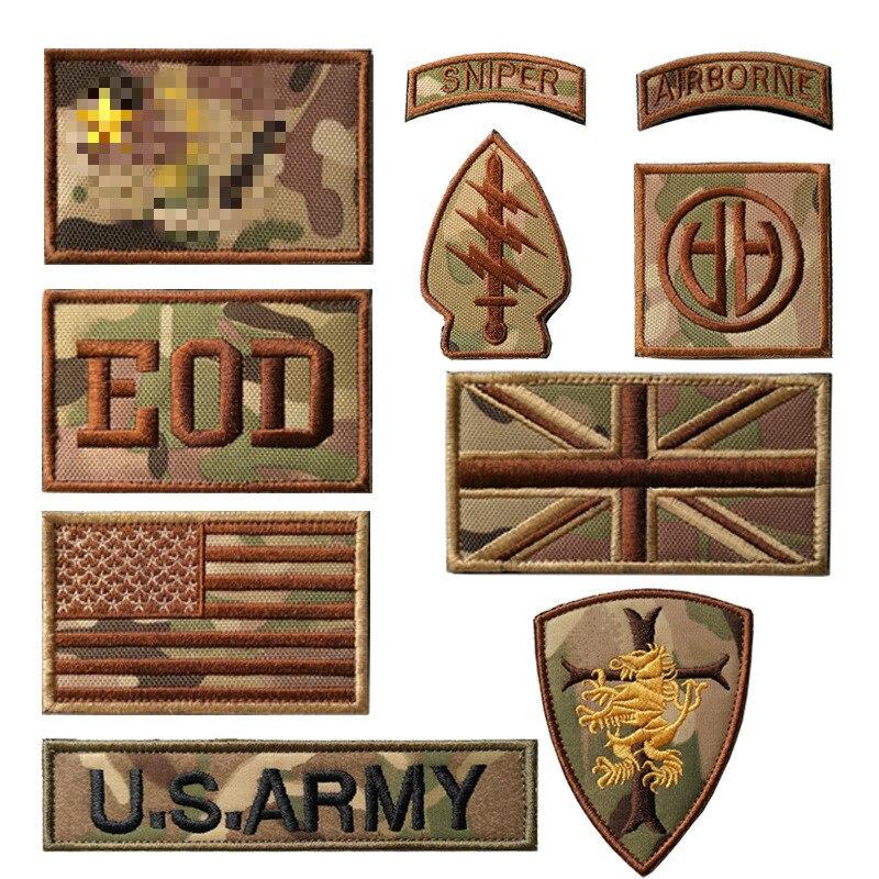 XICC bordado brazalete de camuflaje bolsa al aire libre parches tácticos pegatinas bandera estadounidense británica EOD sello insignias del ejército apliques de tela