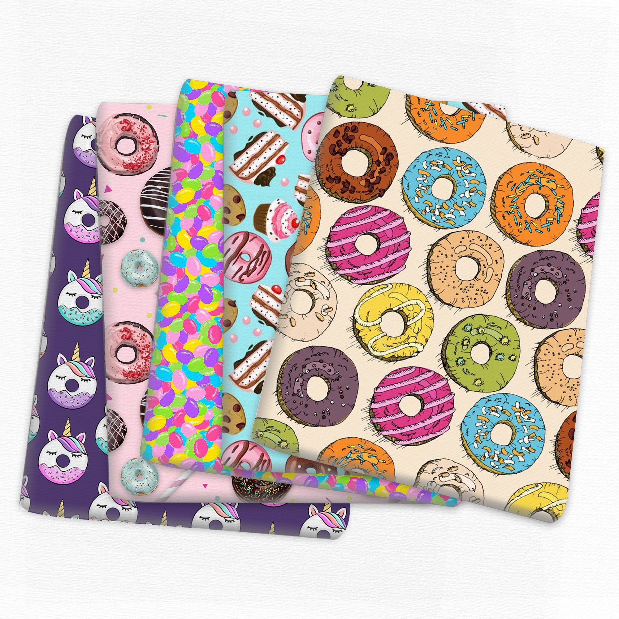 Patchwork Donuts Cake Polyester Cotton Fabric for Tissue Kids Sewing Quilting Fabrics Needlework Material DIY,c14064