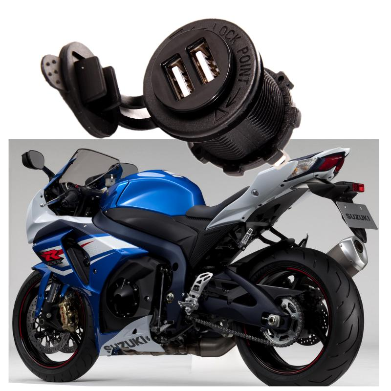 Cargador USB Dual toma de corriente 2,1 amp Panel montaje motocicleta