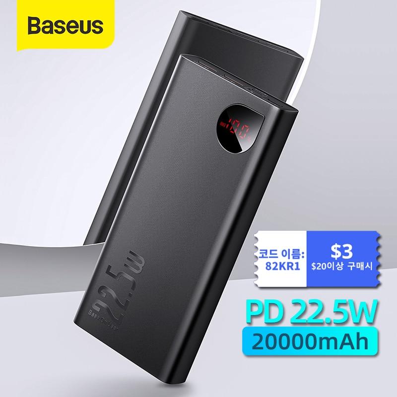 Baseus 22.5W Power Bank 20000mAh Portable Fast Charging Powerbank Type C PD Qucik Charge Poverbank External Battery Charger