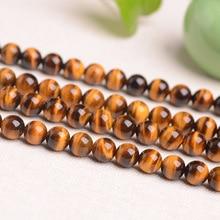 Pierre naturelle jaune oeil de tigre perle en vrac tigre pierre claire Semi-fini longue chaîne jaune oeil de tigre accessoires de bricolage