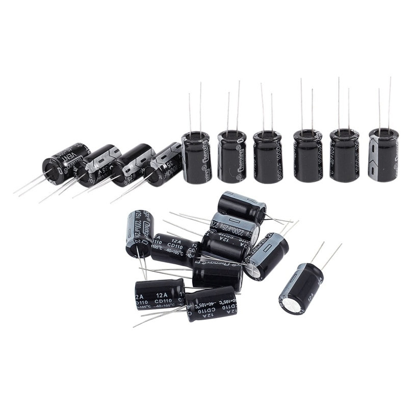 20Pcs 105C Radial Blei Elektrolytkondensator 13Mm X 20Mm - 10Pcs 35V 1000Uf & 10Pcs 25V 2200Uf
