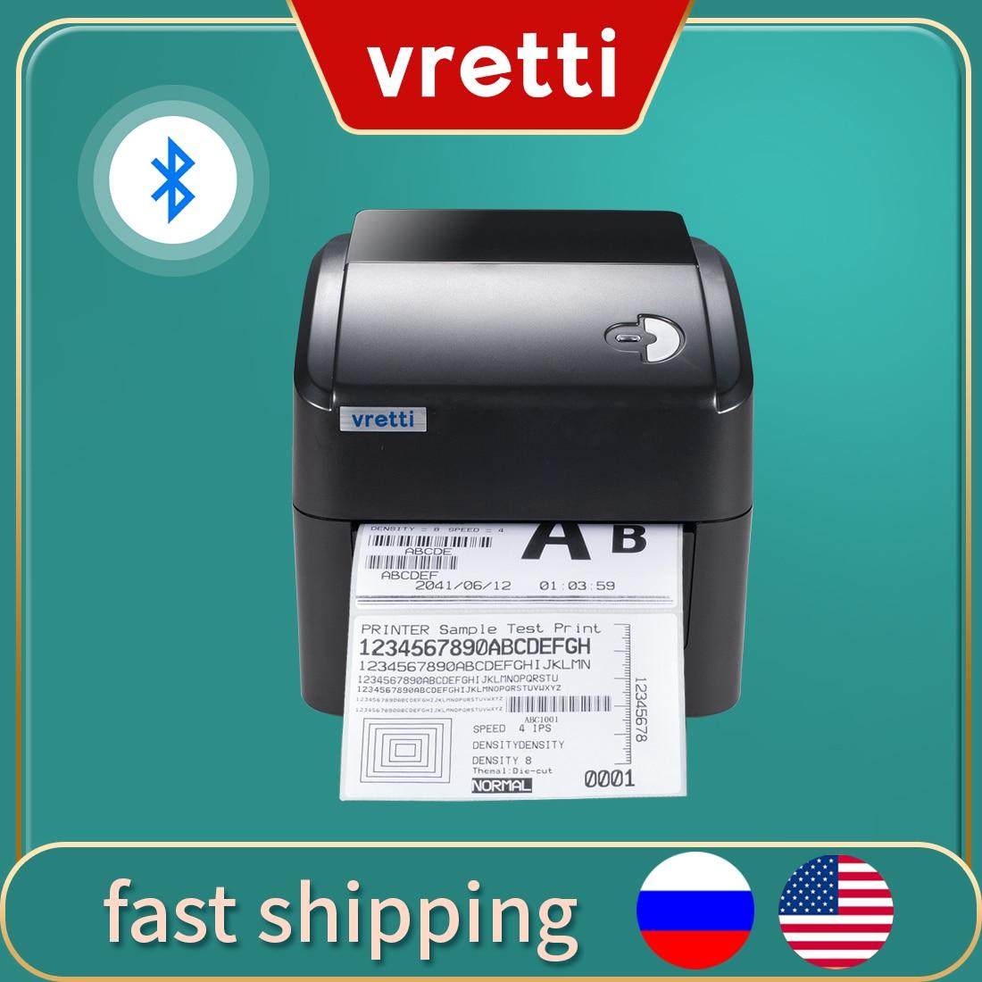 Vretti 420B Shipping Label Printer 152mm/s Barcode Printer Bluetooth Port For Express Or Supermarket Black White Thermal Printer