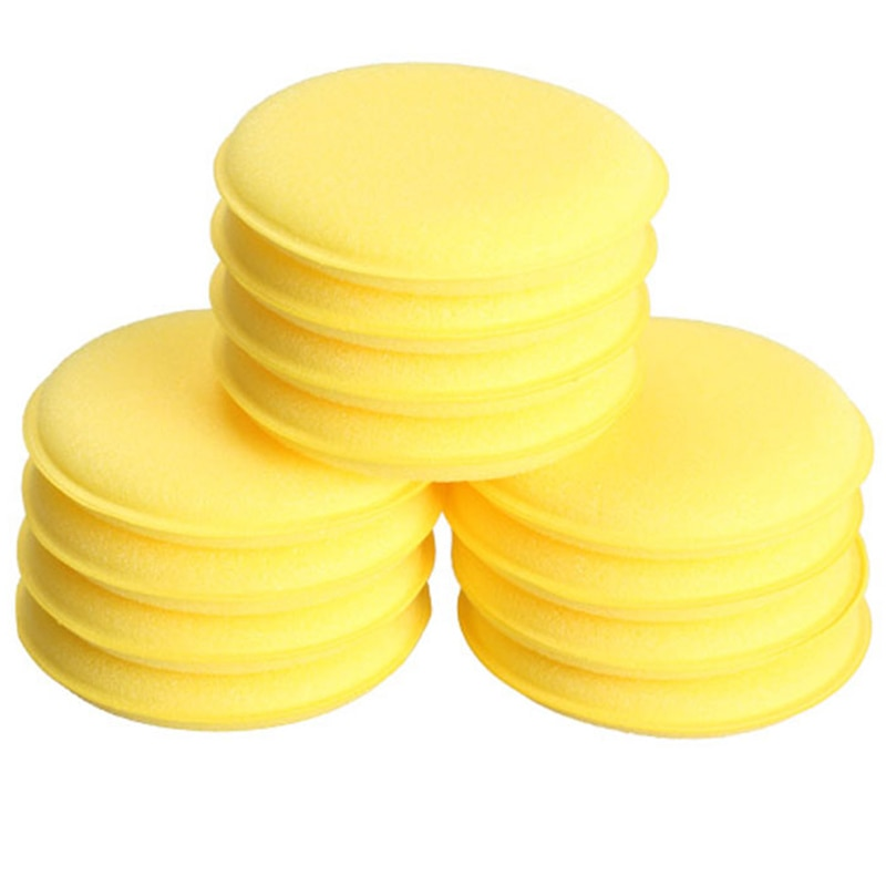 12 stücke Komprimiert Schwamm Mini Yellow Car Auto Waschen Reinigung Schwamm Block Wachs Schaum Schwämme Hohe Qualität Applikator Pads