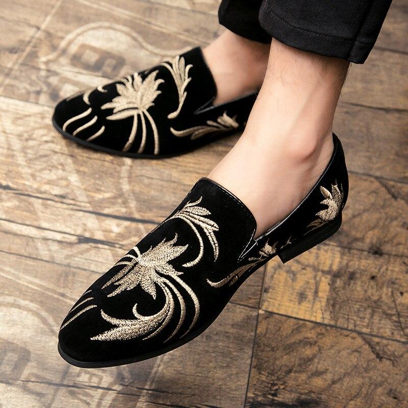 Merkmak мужские модные замшевые кожаные туфли с вышивкой, лёгкие кожаные туфли типа мокасин мужская повседневная обувь Мокасины с принтом Мужс...