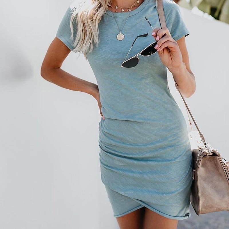 Casual Dresses Women Mini Dress Bodycon Slim Party Dress Short Sleeve Solid Summer Beach Sundress Sexy Vestido Mujer Plus Size