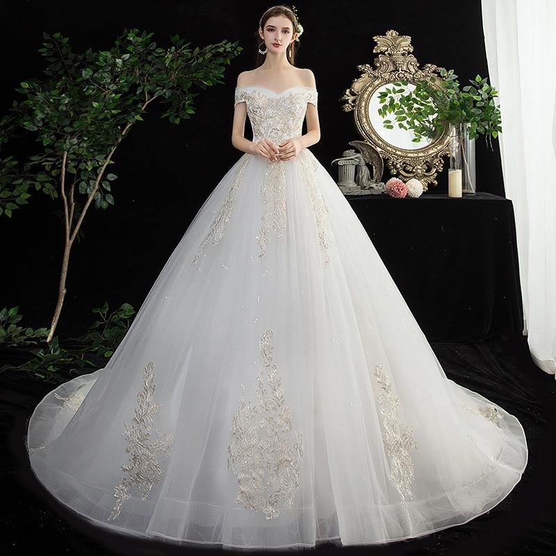 Off The Shoulder Wedding Dress GR707 Embroidery Long Bridal Dresses Shining Sequined Wedding Gowns Appliques Vestidos De Novia