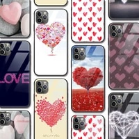 love heart pattern funda case for iphone 12 pro case for iphone 12 11 xr pro xs max x 7 8 6 6s plus se 2020 tempered glass case