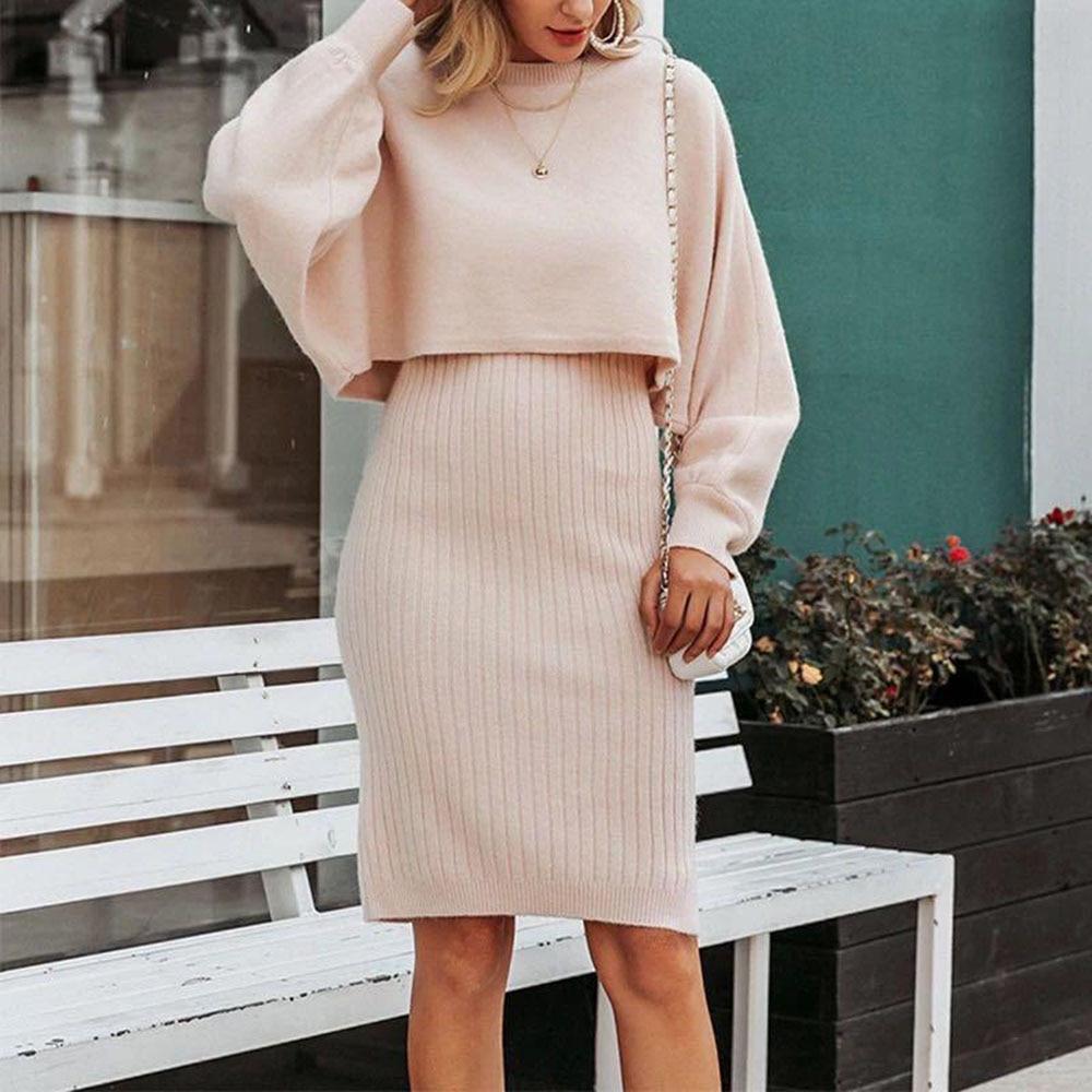 Nouvelle robe à manches longues et col rond pour femme, vêtement deux pièces tricoté et chaud, couleur unie, collection automne 2021