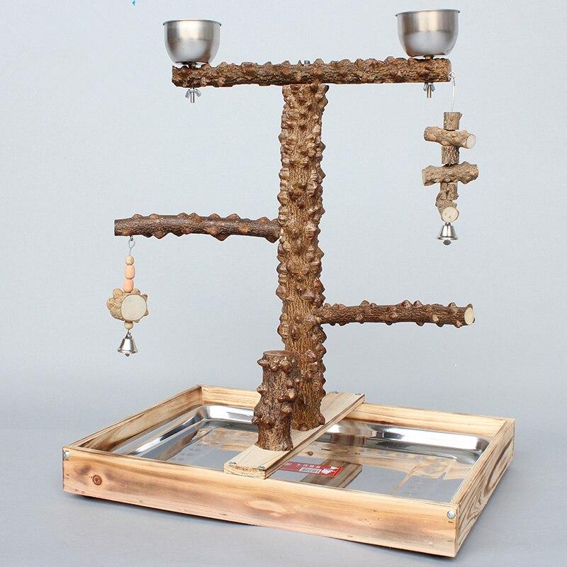 Jaula de pie para loros, de madera natural, con vasos de alimentación, juguetes para morder, loros, plataforma de juego, perchas para árboles, CW083