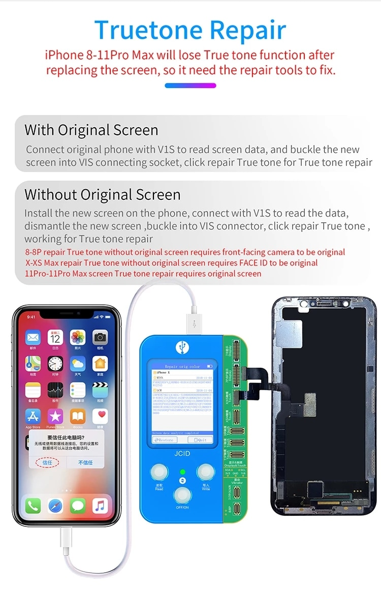 JC V1S Ture Tone Programmer  for iPhone 7-11 Pro Max data read & write for truetone/lightness/touch/battery/fingerprint repair enlarge