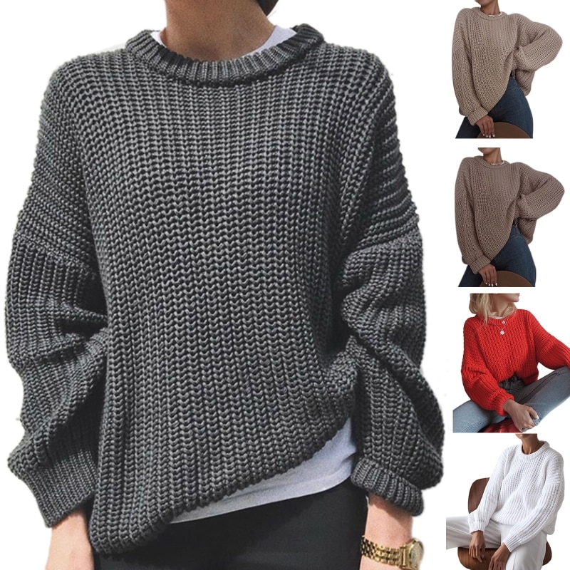 Women Long Sleeve Chunky Knitted Sweater O-Neck Solid Color Loose Jumper Tops enlarge