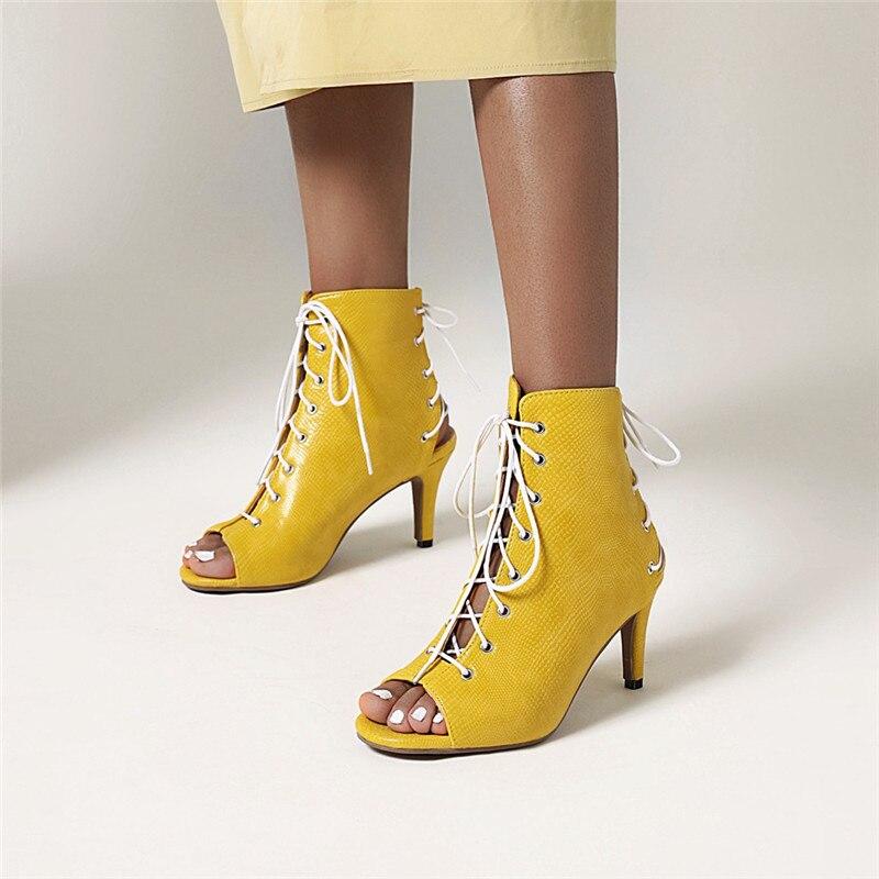 Ymechic snakeskin plutônio amarelo vermelho azul preto cruz amarrada livramento tornozelo botas verão peep toe stiletto sexy saltos altos sandália sapatos