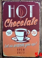 1pc coffee hot chocolate shop cafe plaques tin plate sign wall man cave decoration poster metal vintage retro shabby garage