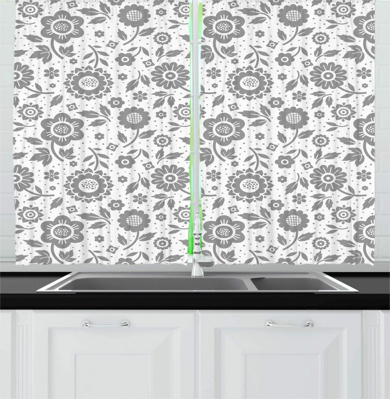 Cortinas de cocina Dimgray, gris, blanco, con diseño gráfico monocromático, cortinas de ventana con diseño abstracto de flores y hojas de lunares