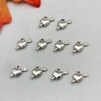 10pcslot charms arrow through the heart silver color love pendant for diy jewelry making accessories earring necklace handmade