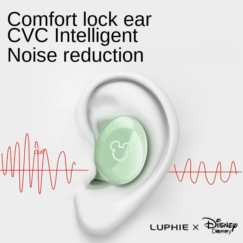 Disney Mickey Wireless Bluetooth Headset Portable Headset Music Player Sports Automatic Noise Reduction Ladies Invisible Headset enlarge