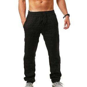 Men's Loose Sports Pants Fashion Solid Color Fitness Linen Comfortable Wild Breathable hip-hop men's Jogging Trousers