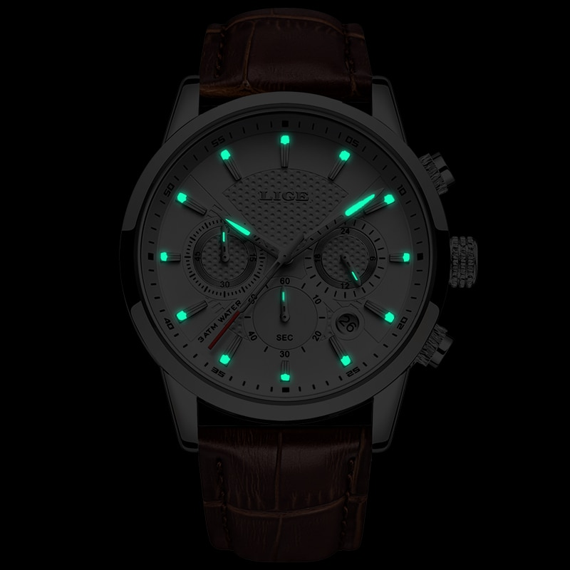 2021 New Mens Watches LIGE Top Brand Leather Chronograph Waterproof Sport Automatic Date Quartz Watch For Men Relogio Masculino enlarge