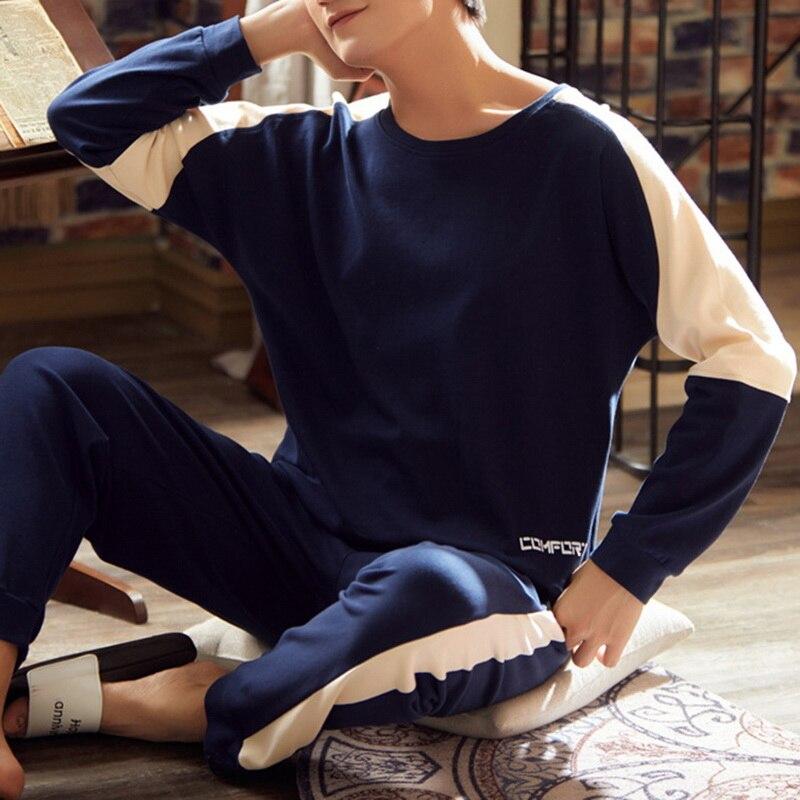 Мужчины пижамы длинный рукав мужские пижамы комплект повседневный простой свободный круглый вырез принт костюм 2021 весна пижамы пижамы костюм домашняя одежда