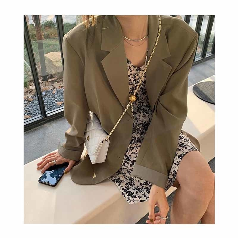 Jackets Women Brown Casual Suit Coat Women's Clothes 2021 New Loose And Versatile Fried Street Small