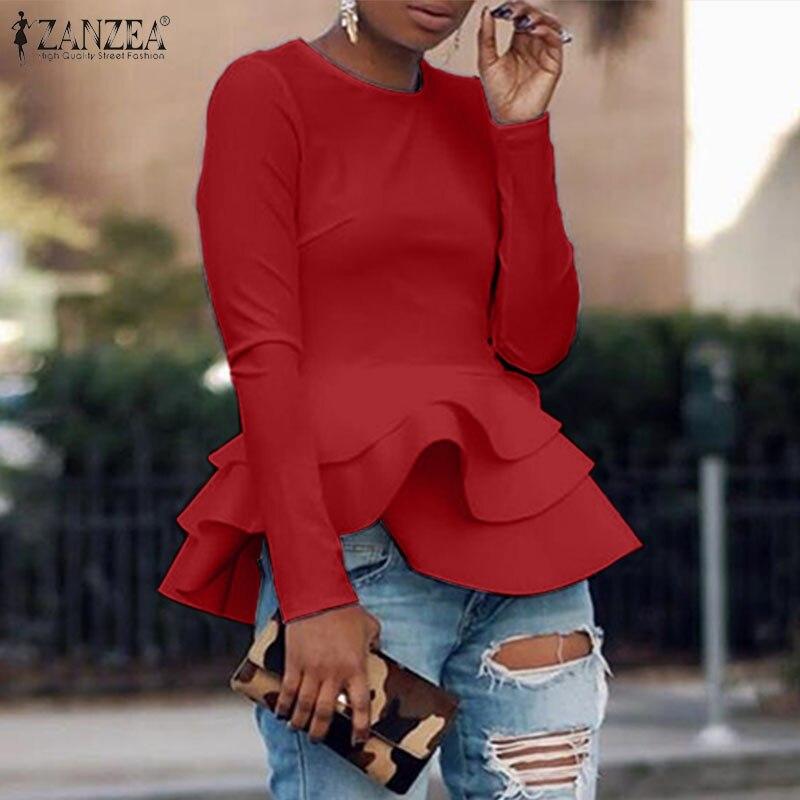 2020 primavera Casual manga larga camisas zanzea moda sólido Flounce blusa mujeres elegante trabajo OL túnica tops blusas camisola de mujer