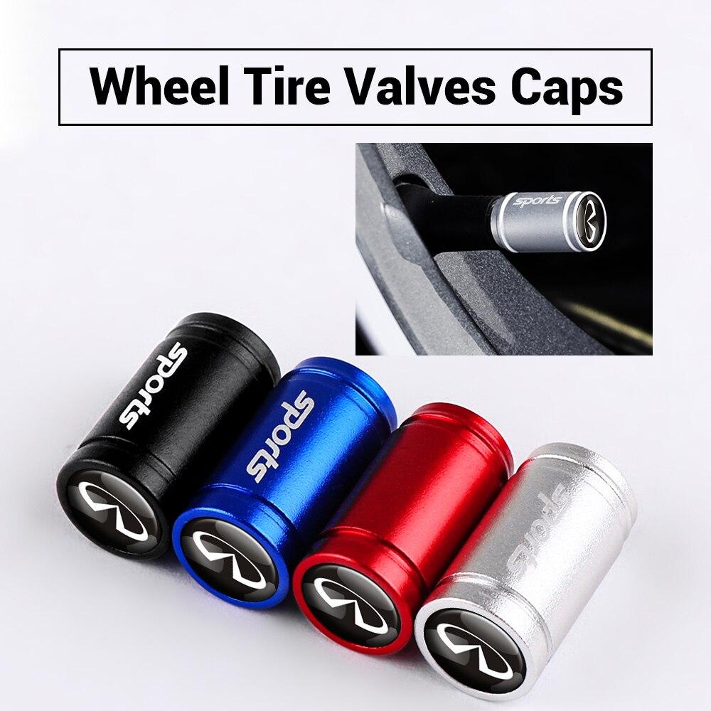 4 pces tampões de válvula de pneu de carro anti-roubo para infiniti fx35 q50 q30 esq qx50 qx60 qx70 jx35 liga acessórios do carro tampões de ar da haste de pneus