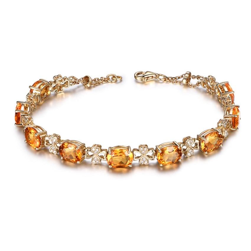 Fyjs único luz amarelo ouro cor empilhável oval citrinos cristal link corrente pulseira para jóias femininas