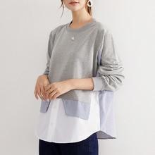 Women Casual Pullovers O-neck Patchwork Mid-length Irregular Shirt Korean Loose Blouse Autumn Office