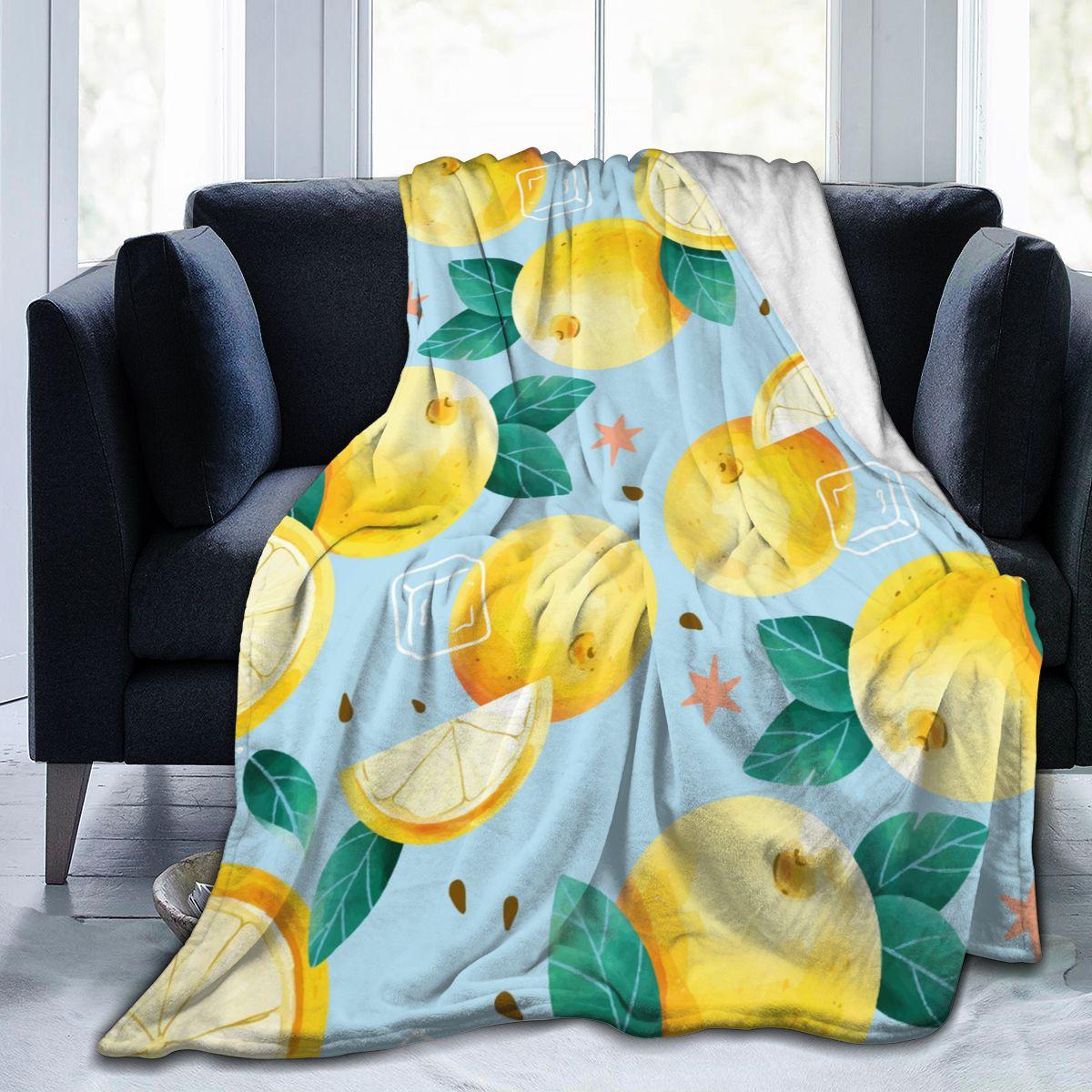 الفانيلا بطانية المائية الصيف الليمون لينة رقيقة الصوف بطانية المفرش غطاء ل أريكة تتحول لسرير ديكور المنزل دروبشيب