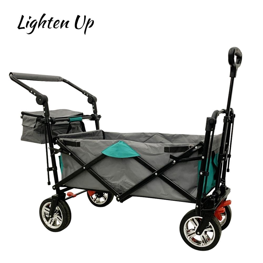 Lighten Up Outdoor Multifunctional Foldable Camping Cart Four-wheel Shopping Cart Gardening Handling Trolley