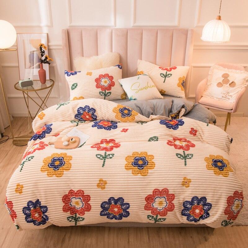 20 estilo de luxo conjunto cama veludo capa edredão impressão sol flor colcha capa cinza neve velo engrossado 150x200 220x240 para casa