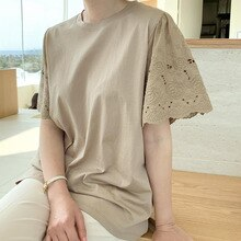 Japanese Korean Women's Clothing Summer New Embroidery T-Shirt Puff Sleeve Solid Color Round Neck Fa