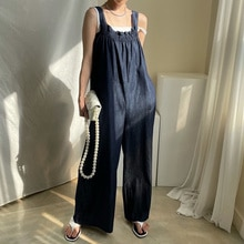 Korean Fashion Folds Lace Solid Color Solid Color Casual Jumpsuit 2021 Summer New Simplicity Pocket