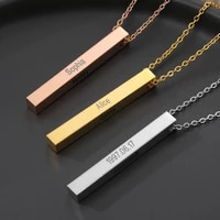 four sides engraving personalized square bar custom name necklace gold chain stainless steel pendant necklace womenmen gift bff