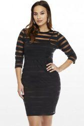 Hiriginr 2020 moda feminina plus size 4xl vestido clubwear ver através bodycon festa mini vestido listrado de mujer