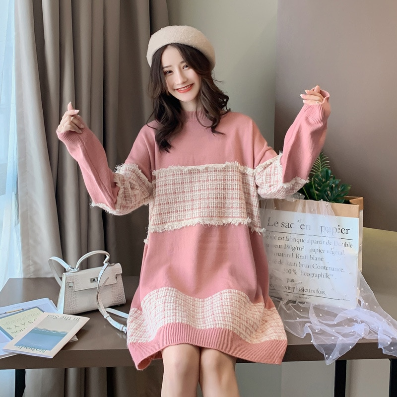 Pregnant Women Knited Dress Winter Maternity Long Sweater Dress Loose Thicker Skirt Suit Outer Sweater Dress 1661043 enlarge