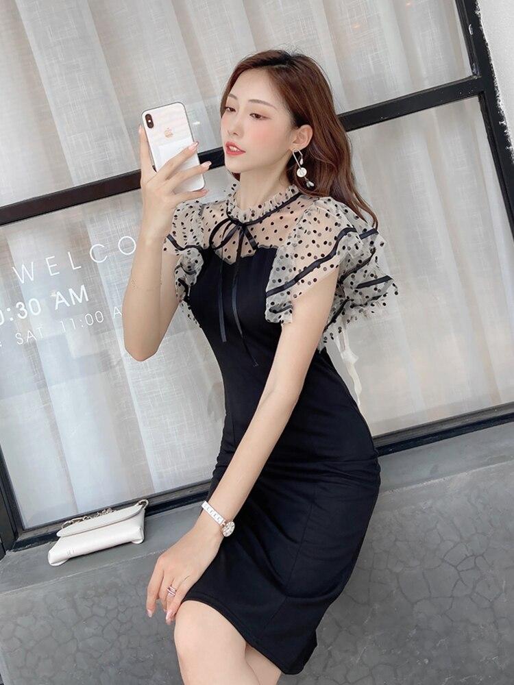 NOVEDAD DE VERANO 2020 vestido de mujer a la moda versión coreana de malla salvaje empalme onda dot francés