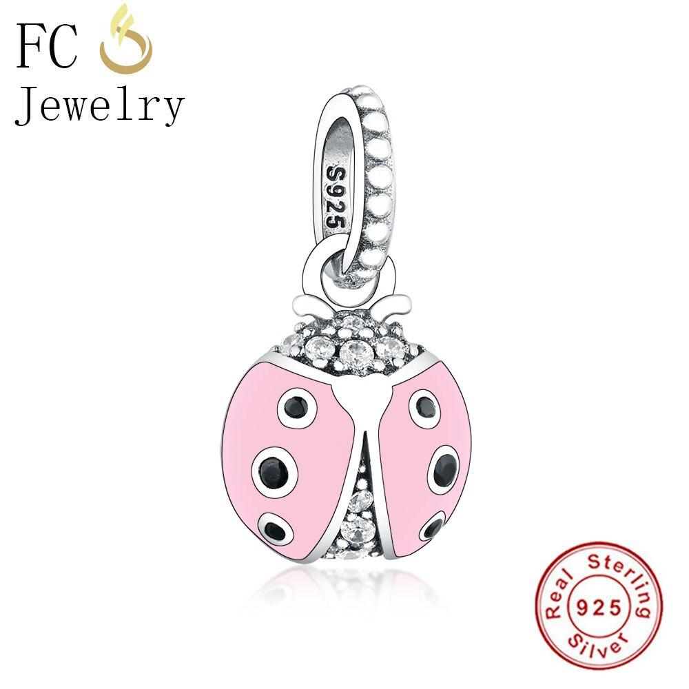 FC joyería Original Pandora pulsera de encanto 925 pulsera de plata esterlina Animal esmalte Rosa Ladybird mariquita de hacer Berloque