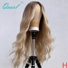 Perruque Full Lace Wig naturelle brésilienne ondulée-Qearl   Cheveux Remy, couleur blond ombré, 8 à 26 pouces, perruque complète avec raie centrale, pour femmes, 150% 180%