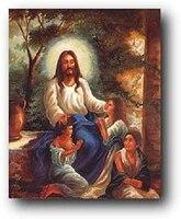 jesus christ christian with children in the garden religious wall decor art print poster