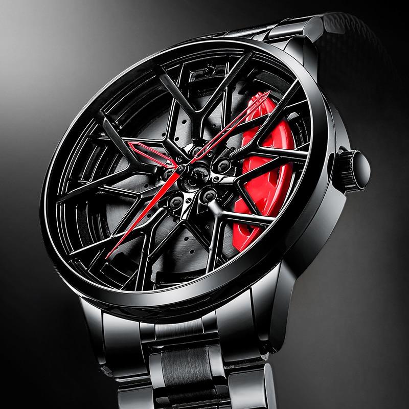 NIBOSI عجلة سيارة رياضية ريم محور الرجال الساعات تصميم مخصص العلامة التجارية الفاخرة ريم المحور ساعة الفولاذ المقاوم للماء Relogio Masculino